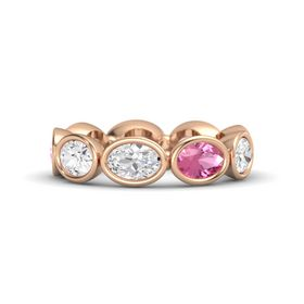Oval White Sapphire 14K Rose Gold Ring with Pink Tourmaline and White Sapphire