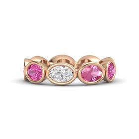 Oval White Sapphire 14K Rose Gold Ring with Pink Tourmaline and Pink Sapphire