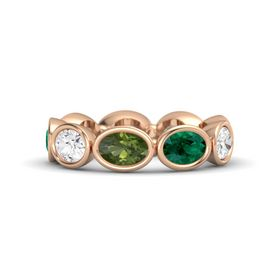 Oval Green Tourmaline 14K Rose Gold Ring with Emerald and White Sapphire