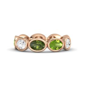 Oval Green Tourmaline 14K Rose Gold Ring with Peridot and White Sapphire