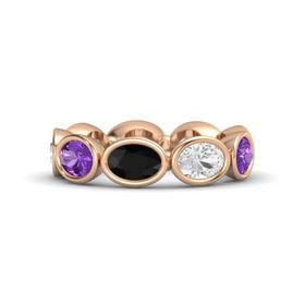 Oval Black Onyx 14K Rose Gold Ring with White Sapphire and Amethyst