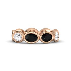 Oval Black Onyx 14K Rose Gold Ring with Black Onyx and White Sapphire