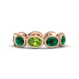 Oval Peridot 14K Rose Gold Ring with Emerald