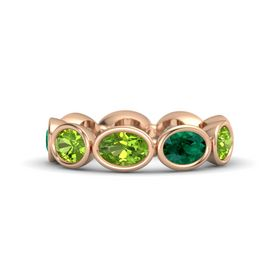 Oval Peridot 14K Rose Gold Ring with Emerald and Peridot