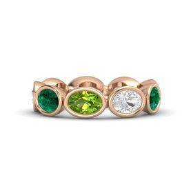 Oval Peridot 14K Rose Gold Ring with White Sapphire and Emerald