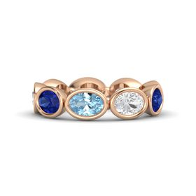 Oval Aquamarine 14K Rose Gold Ring with White Sapphire and Blue Sapphire