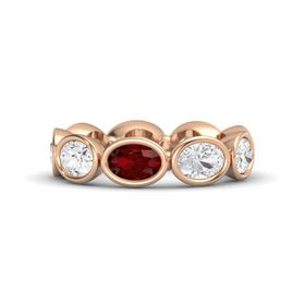 Oval Ruby 14K Rose Gold Ring with White Sapphire