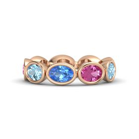 Oval Blue Topaz 14K Rose Gold Ring with Pink Sapphire & Aquamarine