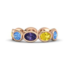 Oval Iolite 14K Rose Gold Ring with Yellow Sapphire and Blue Topaz