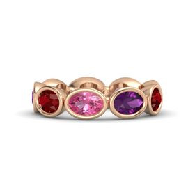 Oval Pink Tourmaline 14K Rose Gold Ring with Rhodolite Garnet and Ruby
