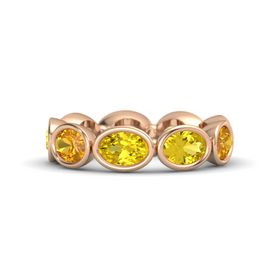 Oval Yellow Sapphire 14K Rose Gold Ring with Yellow Sapphire and Citrine