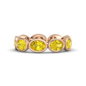 Oval Yellow Sapphire 14K Rose Gold Ring with Yellow Sapphire