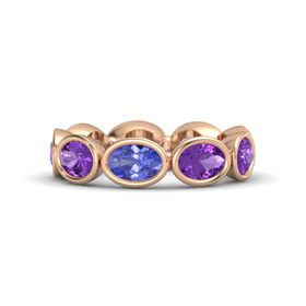 Oval Tanzanite 14K Rose Gold Ring with Amethyst