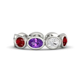 Oval Amethyst 14K White Gold Ring with White Sapphire and Ruby
