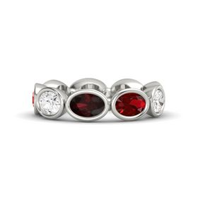 Oval Red Garnet 14K White Gold Ring with Ruby and White Sapphire
