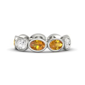 Oval Citrine 14K White Gold Ring with Citrine and White Sapphire