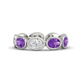 Oval White Sapphire 14K White Gold Ring with Amethyst