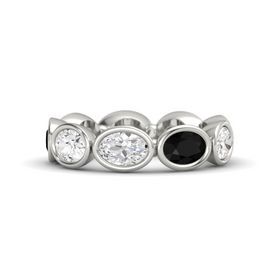 Oval White Sapphire 14K White Gold Ring with Black Onyx and White Sapphire