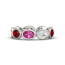 Oval Pink Sapphire 14K White Gold Ring with White Sapphire and Ruby