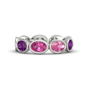 Oval Pink Sapphire 14K White Gold Ring with Pink Tourmaline & Rhodolite Garnet