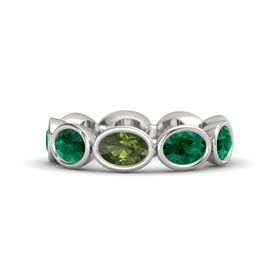 Oval Green Tourmaline 14K White Gold Ring with Emerald