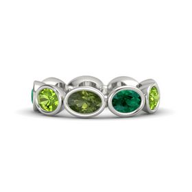 Oval Green Tourmaline 14K White Gold Ring with Emerald and Peridot