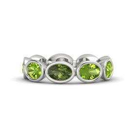 Oval Green Tourmaline 14K White Gold Ring with Peridot