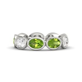 Oval Peridot 14K White Gold Ring with Peridot and White Sapphire