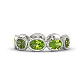 Oval Peridot 14K White Gold Ring with Peridot and Green Tourmaline