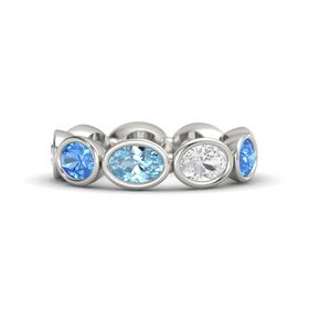Oval Aquamarine 14K White Gold Ring with White Sapphire & Blue Topaz