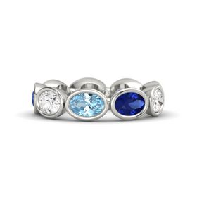 Oval Aquamarine 14K White Gold Ring with Sapphire & White Sapphire
