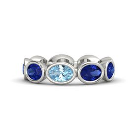 Oval Aquamarine 14K White Gold Ring with Blue Sapphire