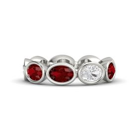 Oval Ruby 14K White Gold Ring with White Sapphire and Ruby