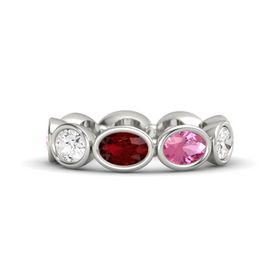 Oval Ruby 14K White Gold Ring with Pink Tourmaline and White Sapphire
