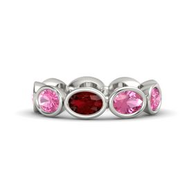 Oval Ruby 14K White Gold Ring with Pink Tourmaline