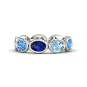 Oval Sapphire 14K White Gold Ring with Aquamarine & Blue Topaz