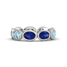 Oval Blue Sapphire 14K White Gold Ring with Blue Sapphire and Aquamarine
