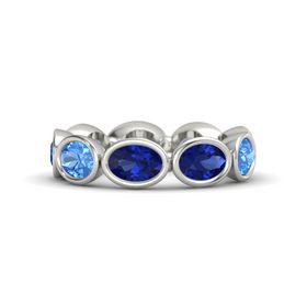 Oval Blue Sapphire 14K White Gold Ring with Blue Sapphire and Blue Topaz
