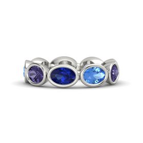Oval Blue Sapphire 14K White Gold Ring with Blue Topaz and Iolite