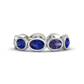 Oval Blue Sapphire 14K White Gold Ring with Iolite and Blue Sapphire