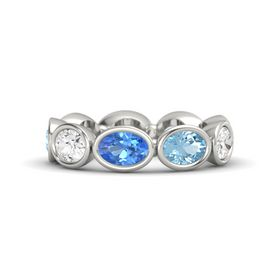 Oval Blue Topaz 14K White Gold Ring with Aquamarine and White Sapphire