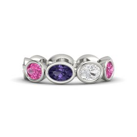 Oval Iolite 14K White Gold Ring with White Sapphire and Pink Sapphire