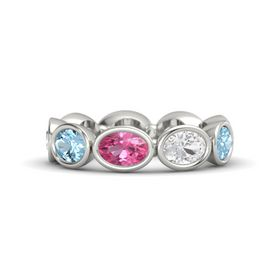 Oval Pink Tourmaline 14K White Gold Ring with White Sapphire & Aquamarine