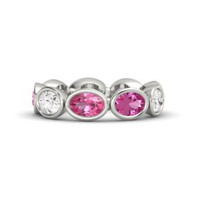 Oval Pink Tourmaline 14K White Gold Ring with Pink Sapphire and White Sapphire