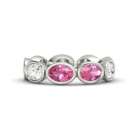 Oval Pink Tourmaline 14K White Gold Ring with Pink Tourmaline and White Sapphire