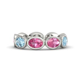 Oval Pink Tourmaline 14K White Gold Ring with Pink Tourmaline and Aquamarine