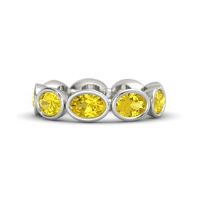 Oval Yellow Sapphire 14K White Gold Ring with Yellow Sapphire
