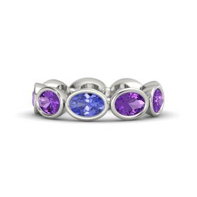 Oval Tanzanite 14K White Gold Ring with Amethyst