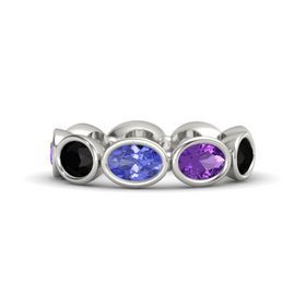 Oval Tanzanite 14K White Gold Ring with Amethyst and Black Onyx