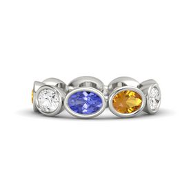 Oval Tanzanite 14K White Gold Ring with Citrine & White Sapphire